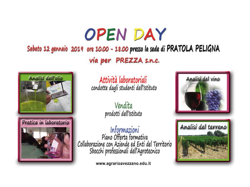 Pratola Peligna: Open Day 12 gennaio 2019