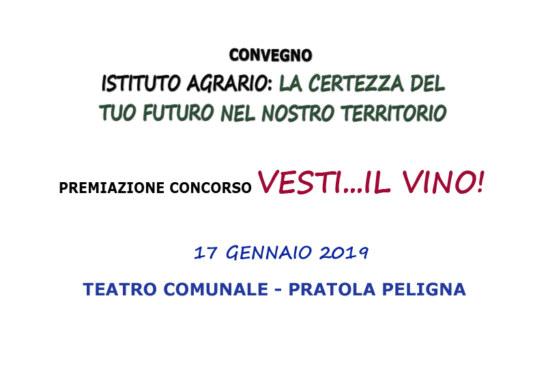 """Pratola Peligna: Convegno e Premiazione concorso """"Vesti … il vino"""" 17 gennaio 2019"""