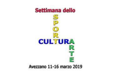 Settimana dello Sport, della Cultura e dell'Arte: 11 – 16 marzo 2019